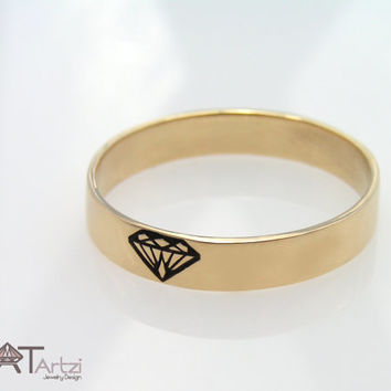 Engreaved diamond shape gold ring, Diamond silhouette ring, Diamond ring, Gold diamond ring