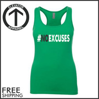 NoExcuses Racerback Jersey. Womens Clothing. Exercise. Motivation. Fitted. Health And Wellness. Workout Tanks. Fitness Tanks. Gym.