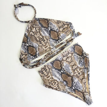 Snake Halter retro swimsuit