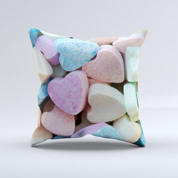 Multicolored Candy Hearts ink-Fuzed Decorative Throw Pillow