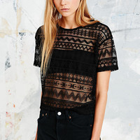 Staring at Stars Geometric Mesh Crop Tee - Urban Outfitters