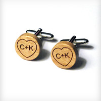 Custom Wood Heart Cufflinks