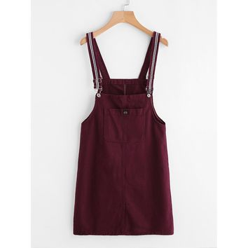 Pinafore Denim Dress With Pockets Burgundy