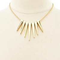 Golden Spike Collar Necklace by Charlotte Russe - Gold