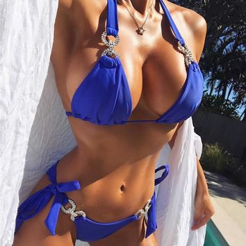 Hot Sale Diamond Crystal Bikini Set Women Swimsuit Swimwear Push Up Brazilian Bikinis Rhinestone 2018 Bandage Biquini Beachwear