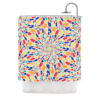 "Miranda Mol ""Flourishing Blue"" Multicolor Geometric Shower Curtain"