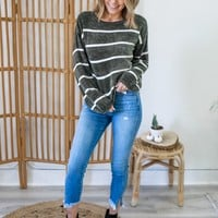Happy Place Sweater - Olive