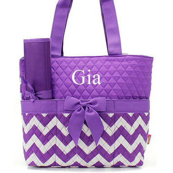 Monogrammed Purple and White Chevron Diaper Bag  Monogrammed Diaper Bag  Personalized Diaper Bag