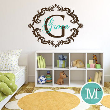 Name and Initial Monogram Girls Room Nursery Damask Chic Frame Border Vinyl Wall Decal Sticker Decor