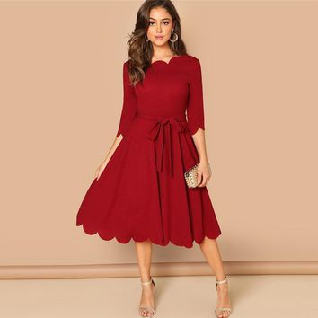 bb08888679c Elegant Scallop Edge Bodycon Dress Women Burgundy 3 4 Sleeve Sol