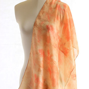 Eco print naturally dyed silk scarf  eucalyptus dyed orange print scarf, ponge silk shawl eco dyed silk scarf, summer accessory gift for her