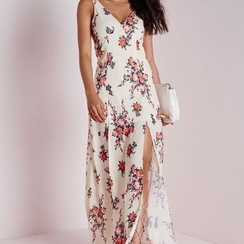 V-NECK MAXI DRESS NUDE FLORAL