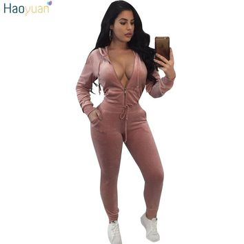 HAOYUAN Velvet Tracksuit Two Piece Set Women Winter Hooded Sweatshirt Hoodies Tops+Pants Casual Suits Velour 2 Piece Sweatsuit