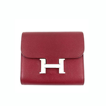 Hermes Constance Short Wallet in Red Epsom Leather & Palladium Hardware