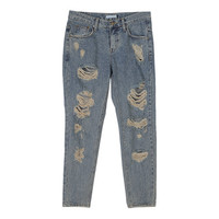 Casual Vintage Damaged Jean Pants
