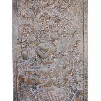 Peaceful Krishna Handcarved  Vintage Fluting Krishna under Kadambari Wish Tree Wall Sculpture , Panel, Barn Door, Yoga Studio Decor