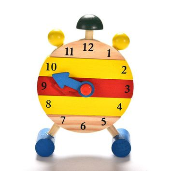 Baby Kids Blocks Early Learning Building Educational Wooden Clock Toy Time Clock children's Educational Toys for boy and girl