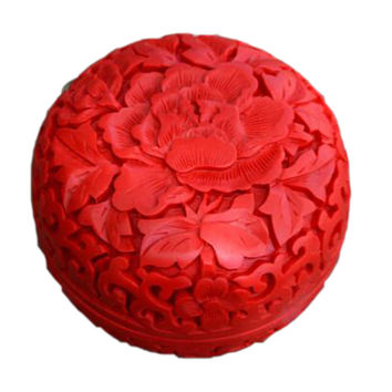 Carved Lacquerware Small Jewelry Box high peony