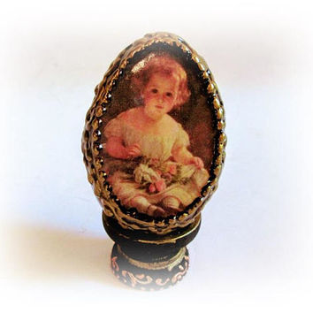 Black and Gold Wood Egg Easter decor Decorative Vintage Egg Easter Egg Shabby Easter Gift Decoupage Easter Eggs with Holder Collectible Egg