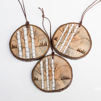 Wood burned birch or aspen tree mountain scene ornament on spalted oak. Rustic wooden christmas ornament.