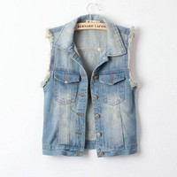 Retro Fashion All-match Denim Vest