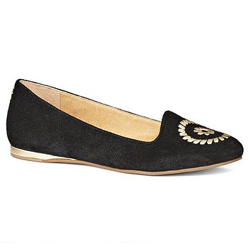 Rebecca Suede Flat in Black by Jack Rogers