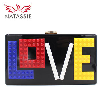 NATSSIE Women Acrylic Clutches Bags Ladies Party Bag Female Evening Purses