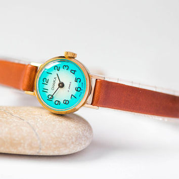 Petite women watch Seagull, gold plated micro watch, turquoise shade lady watch tiny gift, minimalist watch small, genuine leather strap new