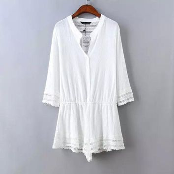 PEAPUG3 Cotton V-neck Three-quarter Sleeve Lace Patchwork White Jumpsuit Summer Women's Fashion Romper [4933134276]