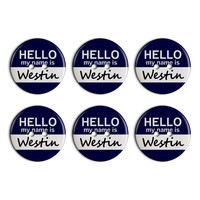 Westin Hello My Name Is Plastic Resin Button Set of 6