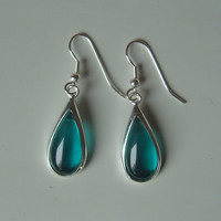Christmas Gift--Natural Sapphire tear drop Sterling Silver earrings-one pair