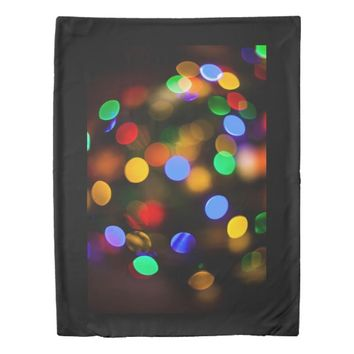 Multicolored Christmas lights. Duvet Cover