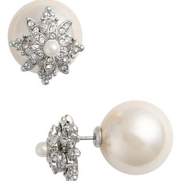 Marchesa Faux Pearl & Crystal Double Stud Earrings | Nordstrom