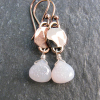 White Druzy Stone Earrings in Bronze - Modern Romance Collection - White and Gold Dangle Earrings