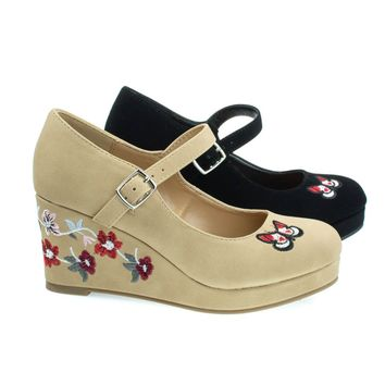 AppIIs Natural Beige By Soda, Girl Floral Embroidered Platform Wedge Mary-Jane Pump. Children Kid Shoe