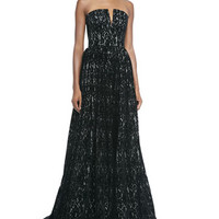 Alice + Olivia Axmis Lace Strapless Bustier Gown