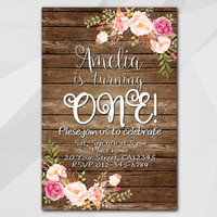 1st Birthday invitation, Watercolor Wood Invitation, 13th 18th 21st 30th 40th 50th, Custom Birthday Party invitation XA020w