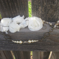 Mother's day Swarovski Crystal, Rhinestone, Silk lace flower, Pearl on antiqued brass necklace .  TAGT