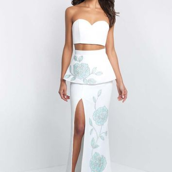 Blush - C1017 Two Piece Peplum Gown with Beaded Floral Detail