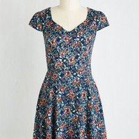 Mid-length Short Sleeves A-line Work This Way Dress in Navy Blooms