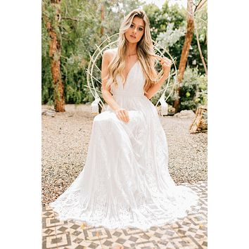 Moment For Me Lace Maxi Dress (Off White)