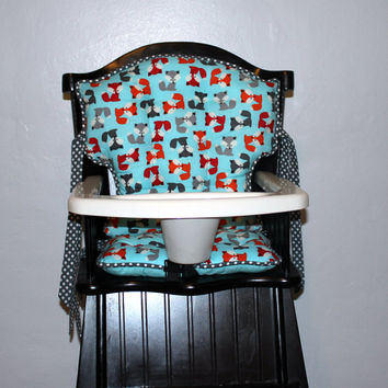 Custom Eddie Bauer Urban Zoologie Fox High Chair Cushions, High Chair Pads, High Chair Cover, Highchair Pads, Wooden Highchair Cover