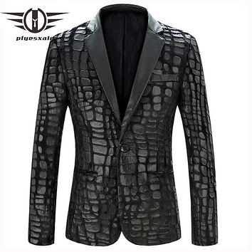 Men Blazer Slim Fit Black Men Faux Leather Blazer Jacket Fashion Patchwork Casual Suit Stage Wear