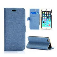 Cloth Texture Wallet Style Magnetic Flip Stand PC+ PU Leather Case for iPhone 6 Plus 5.5 inch (Blue)