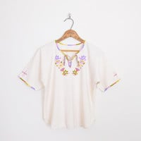 Mexican Shirt Mexican Blouse Mexican Top Mexican Tunic Top Mexican Embroider Shirt Embroider Blouse Embroider Top 70s Hippie Top Boho M L