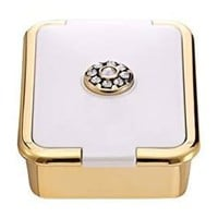 PuTwo Pill Box for Travel Swarovski Crystals Elements with 3 Compartments & Inner Mirror, White