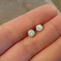 White Fire Opal Post Earrings