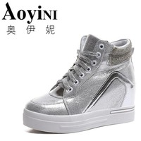 Hot Sales new 2018 spring Autumn silver White Hidden Wedge Heels Casual shoes Women's Elevator High-heels shoes for Women