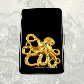 Metal Cigarette Case Gold Octopus Inlaid in Hand Painted Glossy Black Onyx Enamel Steampunk Kraken Metal Wallet Neo Victorian