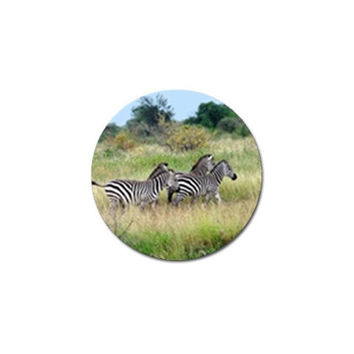 Zebras Running In Field Golf Ball Marker